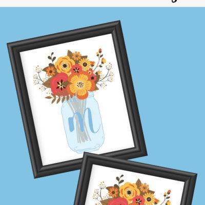 Fall Mason Jar Initial Printable Art