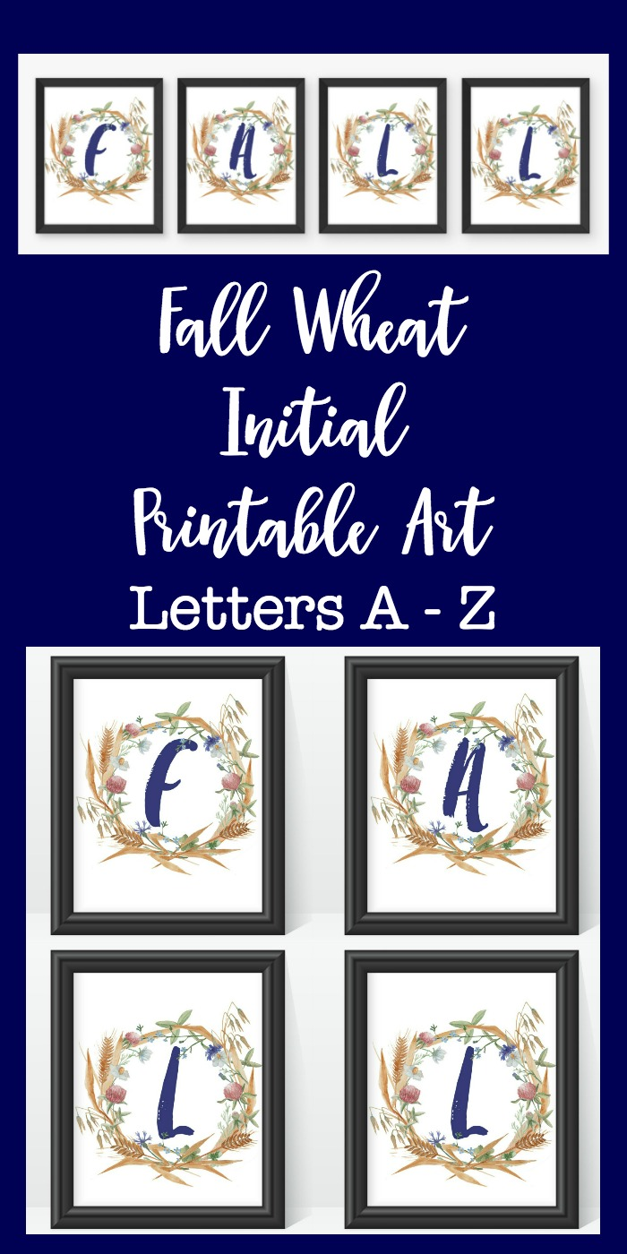 Fall Wheat Initial Printable Art: Autumn themed printable letters A- Z. Great free fall decor.