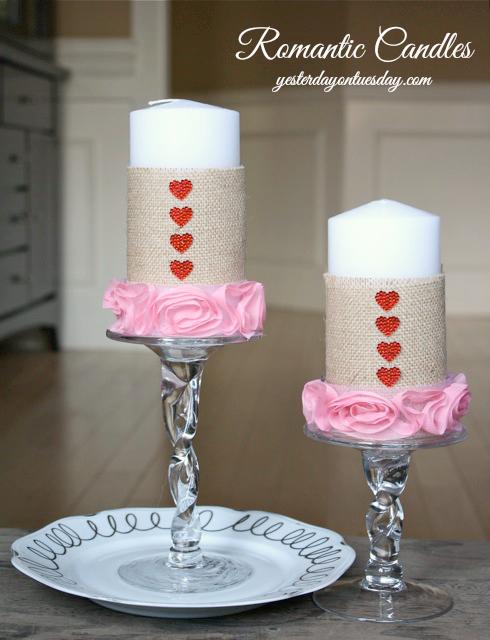 DIY Romantic Burlap Candles